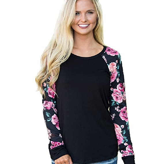 Blusas De Mujer Ropa De Primavera Camisetas Manga Larga Elegantes Sudaderas Floral Casual Negro L