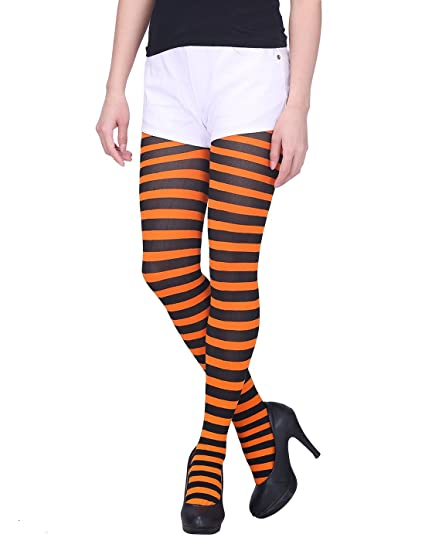 5ef66d42c2037 HDE Women's Striped Tights Full Length Sheer Microfiber Nylon Footed  Stockings (Black and Orange)