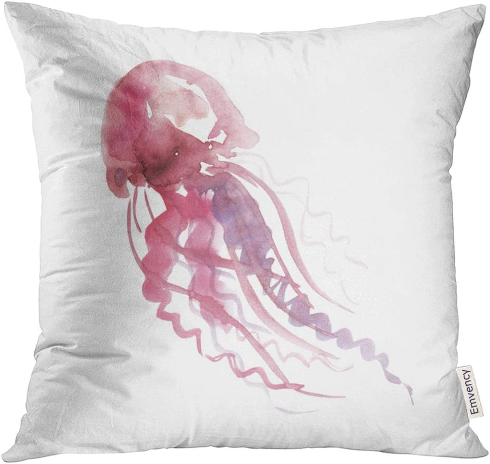 Amazon Com Upoos Throw Pillow Cover Blue Sealife Pale Color Tender Jellyfish Watercolor Painting Artwork Pink Watercolour Abstract Decorative Pillow Case Home Decor Square 16x16 Inches Pillowcase Home Kitchen