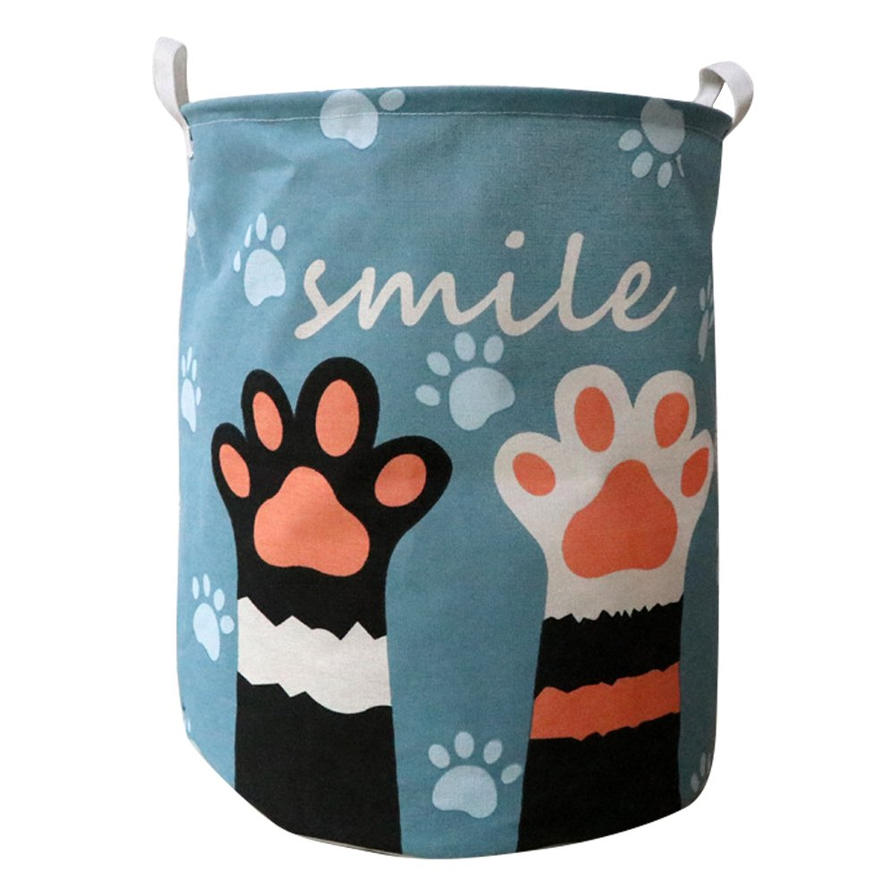 Fieans Large Laundry Basket Folding Washing Storage Bin Dirty Clothes Hamper with Handles Cute Animals Decorative Basket - Blue