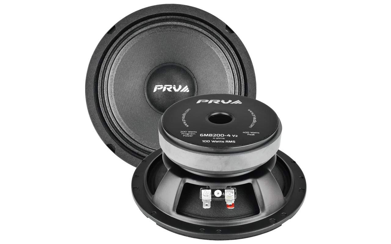 PRV Audio 6MB200-4 V2 6'' Mid Bass 4 ohms Pro Audio Speaker 93.5dB 100 Watts RMS 1.5'' VC