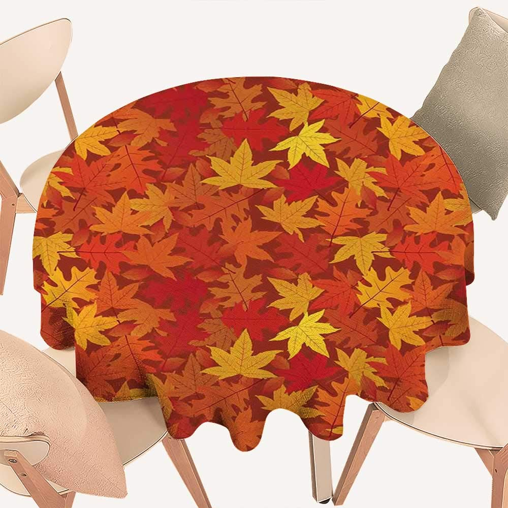 haommhome バーントオレンジ テーブルカバー マルチカラー 秋の紅葉 珍しいデザイン 自然テーマ アートプリント ラウンド テーブルクロス D 60インチ バーントオレンジ   B07MK1DB8J