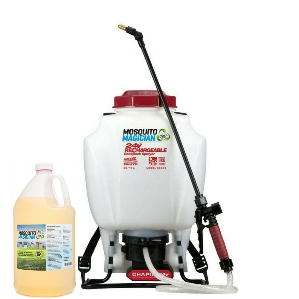 Mosquito Magician Battery Backpack Sprayer with 1 Gallon Natural Mosquito Killer & Repellent Concentrate