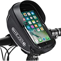 Bike Phone Front Frame Bag, Waterproof Bicycle Cellphone Mount Pack Cycling Top Tube Handlebar Bag Sensitive Touch…