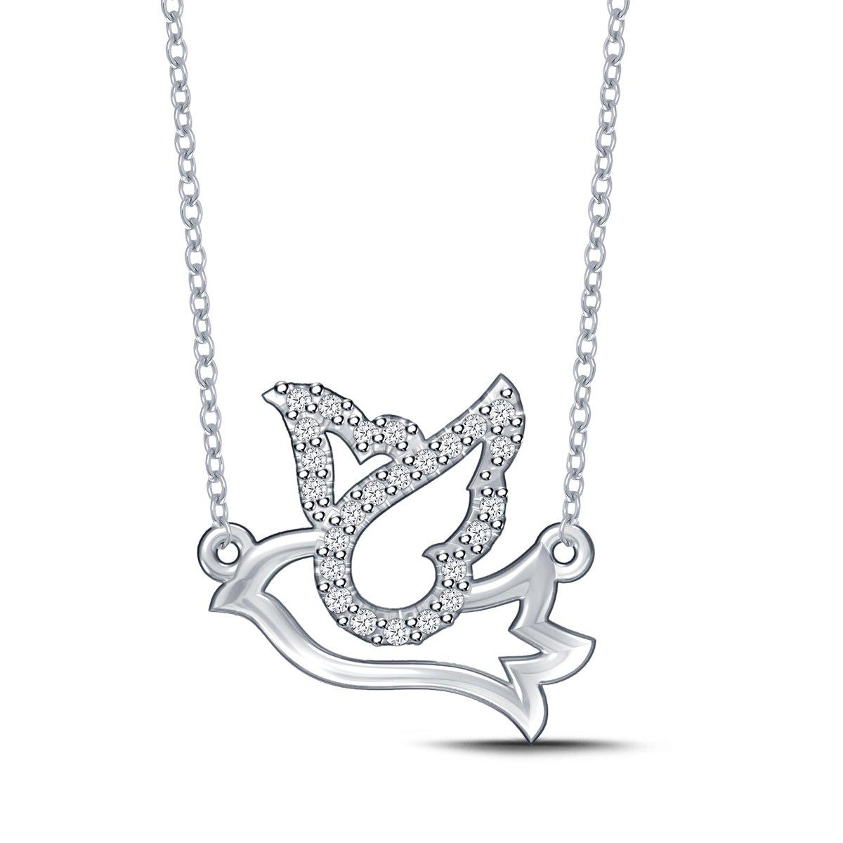 Diamond Dove Pendant Necklace in 925 Silver (0.08cttw, IJ / I2-I3) 18''
