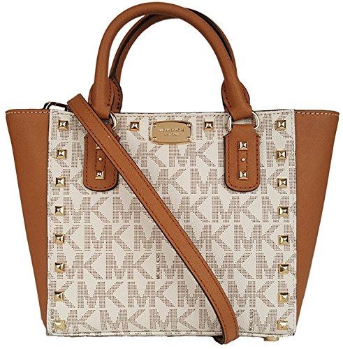 Michael Kors Sandrine Stud Acorn Small Crossbody Leather Handbag Vanilla by Michael Kors