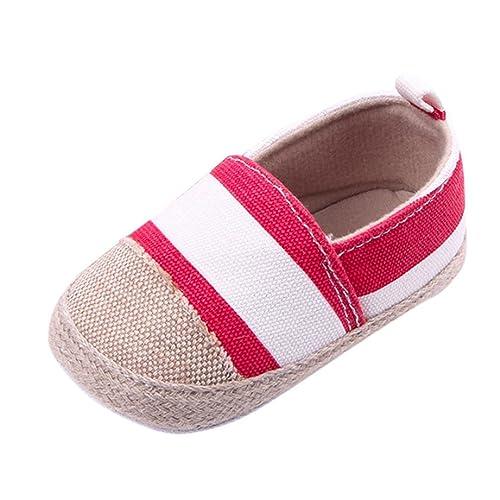 Zolimx 💕 Bebé Niño Lienzo Zapatillas Antideslizante Lona de Rayas Zapatos Primeros Pasos Bebe (3