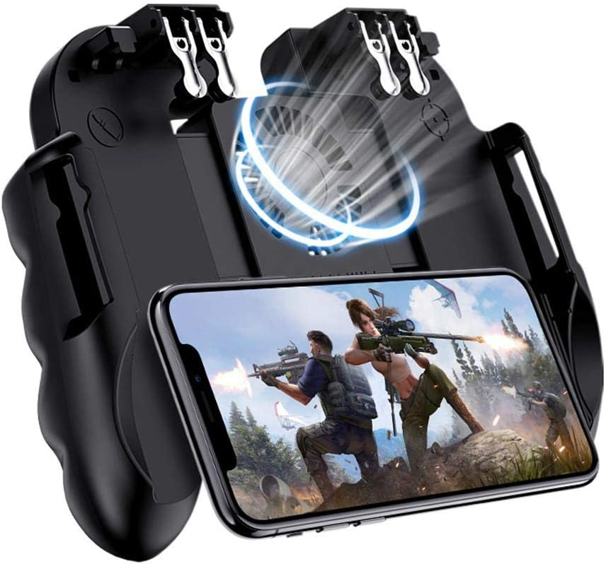 LayOPO Mobile Game Controller with Silent Cooling Fan, 2019 New Upgrade H9 Wireless 6 Finger Operation Mobile Gaming Joystick for PUBG, Universal Gamepad Grip for 4.7-7 Inch Android iOS