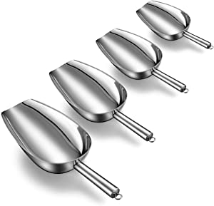 Ice Scoop set of 4, Fungun Stainless Steel Kitchen Multi-purpose Food Scoop for Weddings/Ice Cube/Coffee Bean/Candy/Flour/Popcorn/Ice Cream-5/8/12/20 Oz
