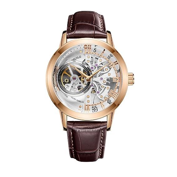 Relojes de lujo casuales para hombre oro rosa esqueleto relojes automáticos OBL8238