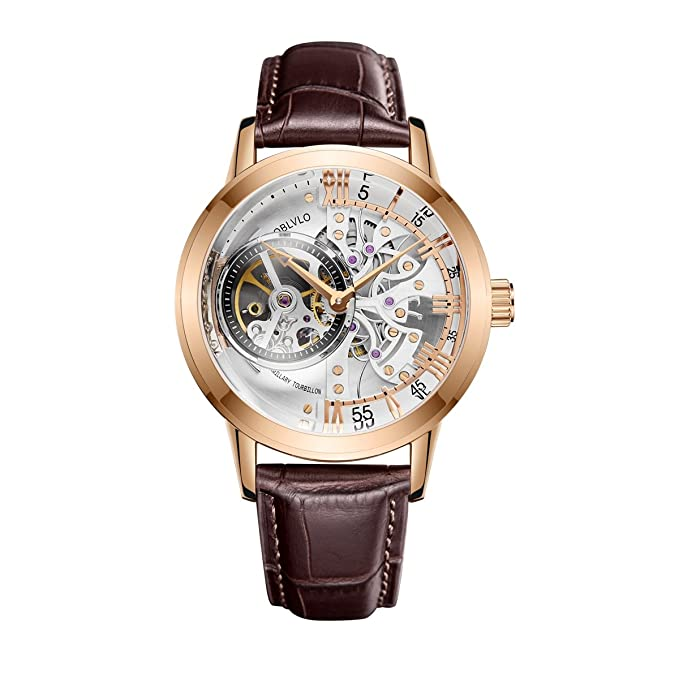 Amazon.com: OBLVLO Luxury Casual Watches for Men Rose Gold Skeleton Watches Automatic Watch OBL8238: Watches