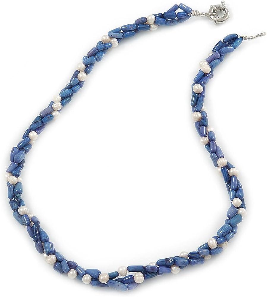 Avalaya - Collar de perlas de agua dulce (3 hebras entrelazadas), color azul coral y blanco