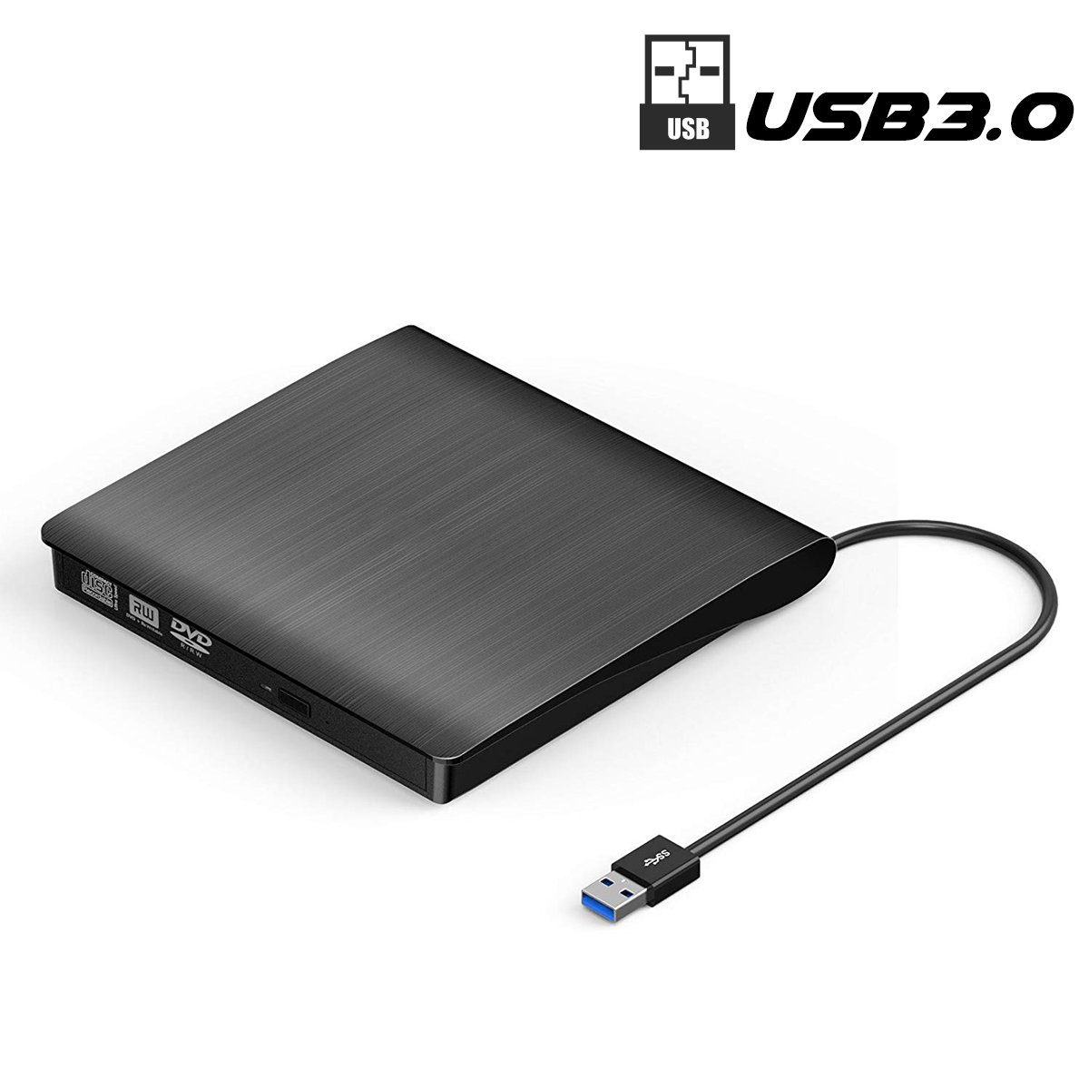 External DVD Drive, SUMBOAT USB 3.0 Portable Slim DVD CD Rom Burner Rewriter Driver,High Speed Data Transfer for Laptop Mac 10 OS Windows XP /2003/Vista/Win 7/ Win 8/Win 10 Linux by SUMBOAT (Image #1)