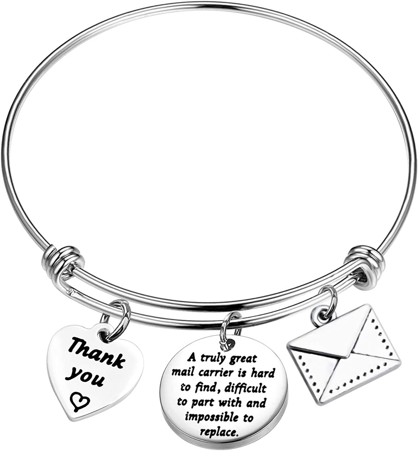 AKTAP Mail Carrier Gifts Mail Carrier Bangle Bracelet A Truly Great Mail Carrier is Hard to Find Post Office Worker Jewelry Mail Lady Gift Thank You Gift