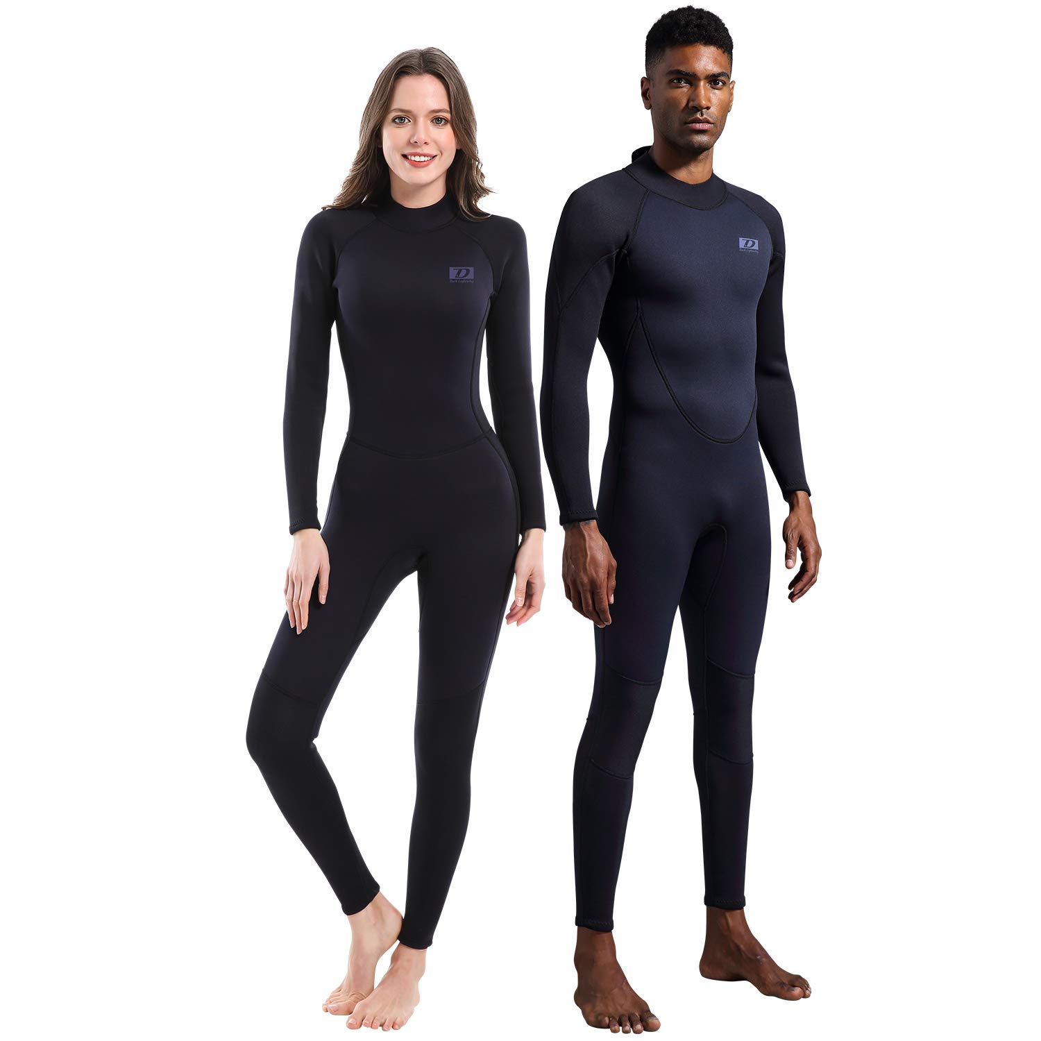 Dark Lightning Full Body Mens Scuba Neoprene Wetsuit, 5/4mm Premium Stretch CR Diving Wet Suits in Cold Water, Suitable for Snorkeling/Kayaking/Canoeing, Black,M Size