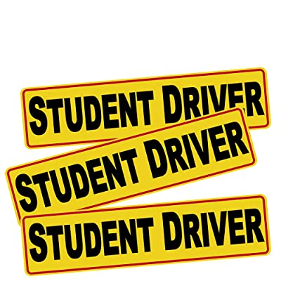 "3pcs 12""x3"" Student Driver Sticker Decal Safety Signs for New Driver, Paint Safe Removable Back Glue Sticks Better Than Magnetic for Plastic Bumper and Window, one for Each Side and The Rear: Computers & Accessories"