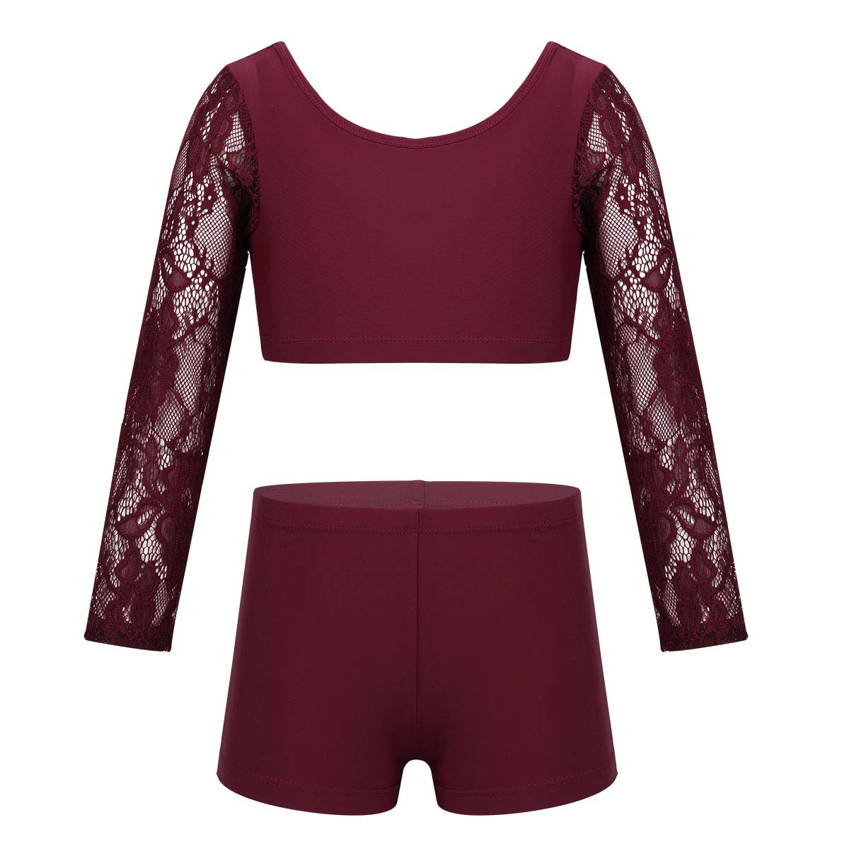 moily Big Girls Athletic Dance 2 Pieces Set Lace Long Sleeve Crop Top with Booty Shorts Ballet//Gymnastics//Sports