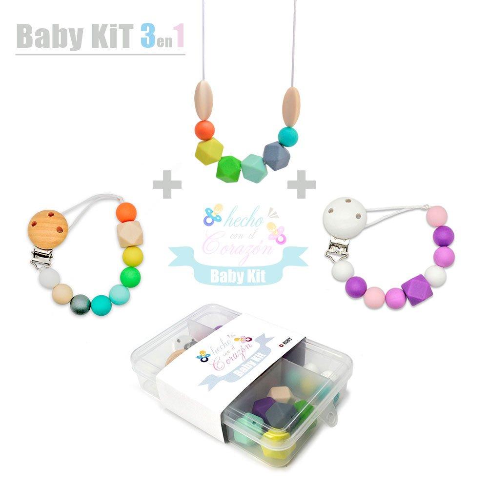 RUBY - DIY Kit Cuentas de Silicona para hacer Chupetero Mordedores y Collar lactancia Regalos para bebes personalizados,Envio urgente gratis (Modelo B) Ruby Abalorios