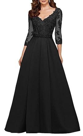 0672d4f10a yuanbaokj Ladies Beaded Formal Gowns Satin Evening Dresses Floor Length V  Neck 3 4 Sleeves