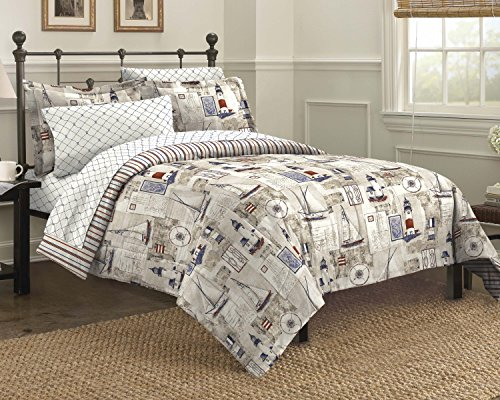 Free Spirit Cape Cod Seaside Sailing Nautical Bedding Comforter Set, Multi-Colored, King