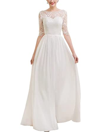 250aed388c1 Wedding Dresses for Women A-Line Princess Scoop Neck Floor-Length Chiffon  Lace Wedding Dress NaXY Bridal Gown at Amazon Women s Clothing store