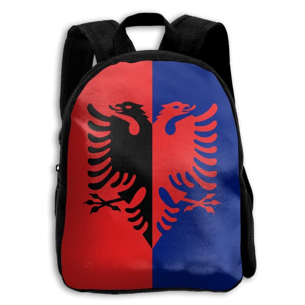 fidaljfの国旗アルバニア子供の3dプリントファスナー付き旅行バッグ学校バックパック B07DN8RGG6