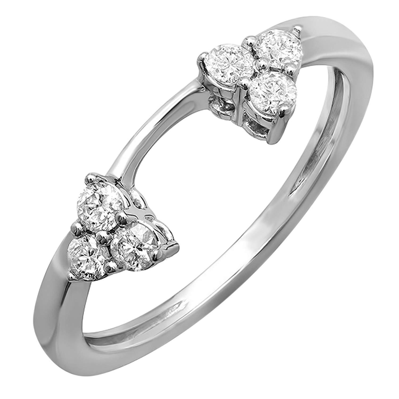 Dazzlingrock Collection 0.30 Carat (ctw) 14K Round Diamond Ladies Anniversary Wedding Ring Matching Guard Band 1/3 CT, White Gold, Size 5.5 by Dazzlingrock Collection