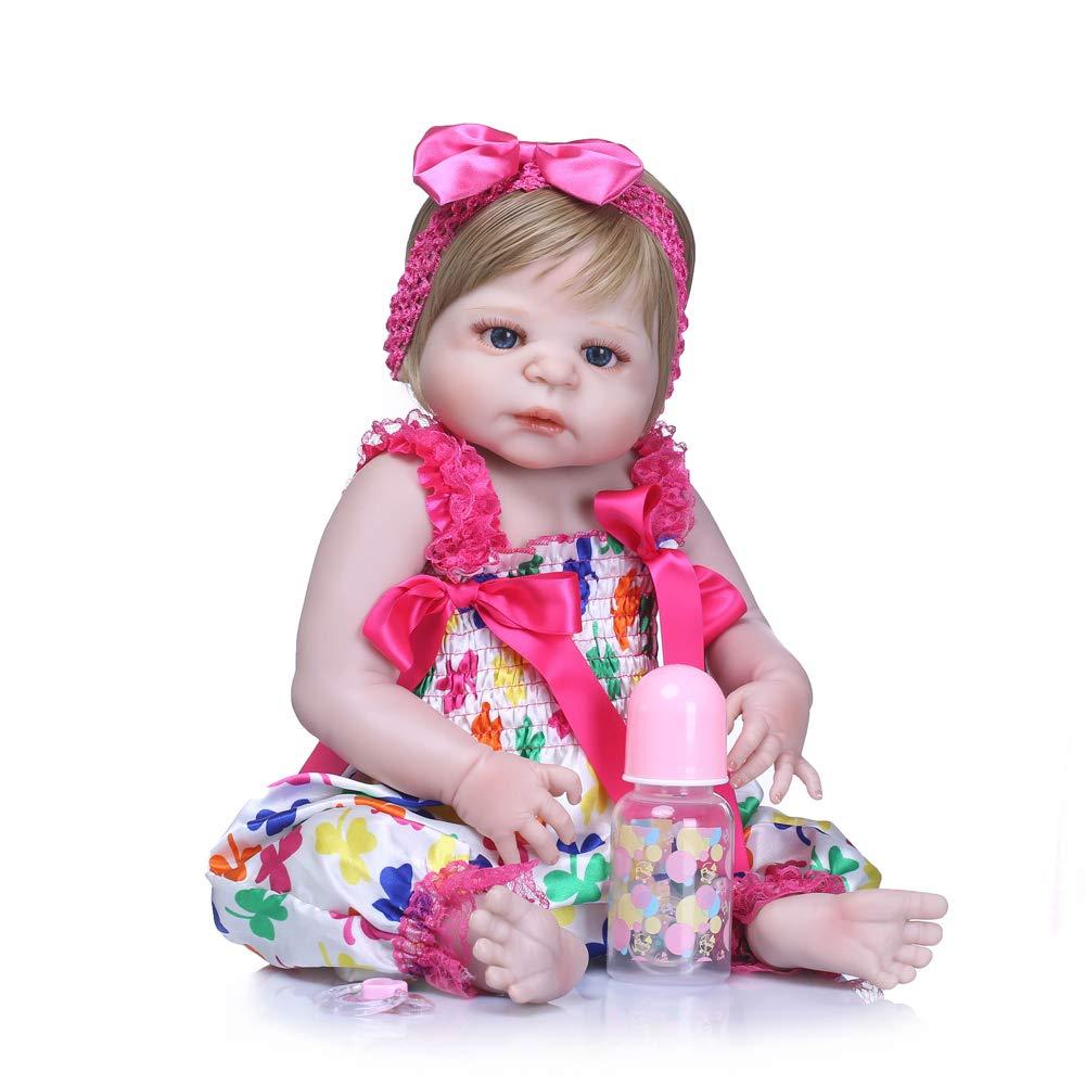 Docooler Reborn Baby Girl Doll Portable Soft Silicone Vinyl Body Realista Muñeca para niños pequeños Adultos de 22 Pulgadas, cumpleaños.