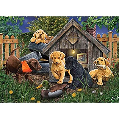 Cobble Hill Puzzles in The Doghouse by Artist Jerry Gadamus 1000 Piece Animals & Wildlife Jigsaw Puzzle: Toys & Games