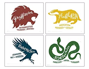 TrendyPrint Harry Potter - Hogwarts Houses – Gryffindor Hufflepuff Slytherin Ravenclaw Wall Art UNFRAMED - Set of 4 – Perfect for Gifting or Collecting