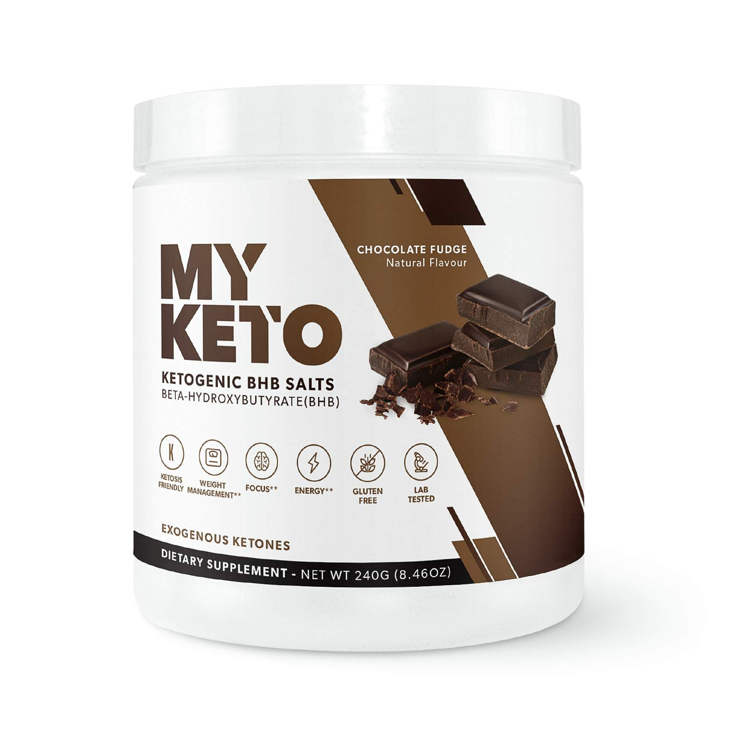 MyKeto BHB Salts - Chocolate Fudge Exogenous Ketone Performance Powder - Formulated for Ketosis, Energy, Focus, and Fat Burn - Ketogenic Diet Supplement with Beta-Hydroxybutyrate (Chocolate Fudge)