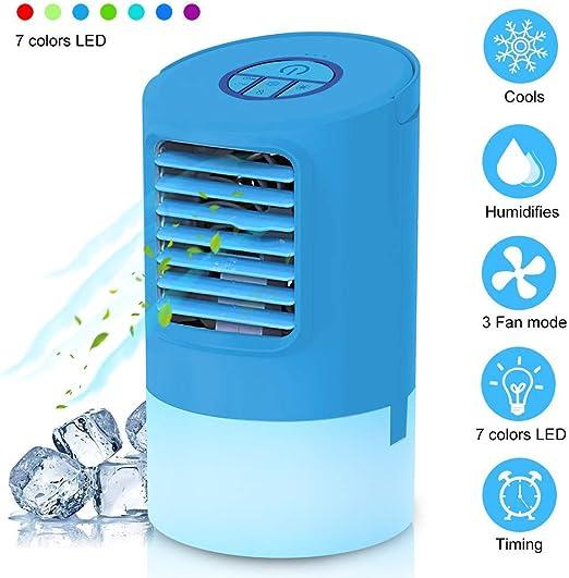 WANWEIGOU Enfriador Aire Portatil Aire Acondicionado Móvil Mini Ventilador Humidificador Purificador de Aire Personal Enfriador Climatizador Portátil con 7 Colores LED, para Casa/Oficina: Amazon.es: Hogar