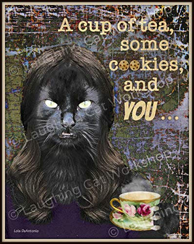 Scary Black Cat art print Halloween decor Cup of Tea Cookies and You Monster wall art Witch Song art Creepy Hipster poster Dorm decor ()