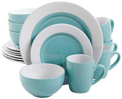 Amazon.com | Gibson Home Style Deluxe 16-Piece Dinnerware Set, Blue ...