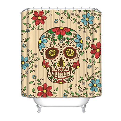 HGOD Designs Colorfull Skull And Daisy Gerbera Flower Shower Curtains 72 X 72 Home Decor Bath Curtain Background Perfect as Halloween Gift