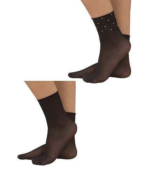 CALZITALY 2 Pares Calcetines Cortos sin Puño Elastico | Calcetines de Mujer Finos con Strass |