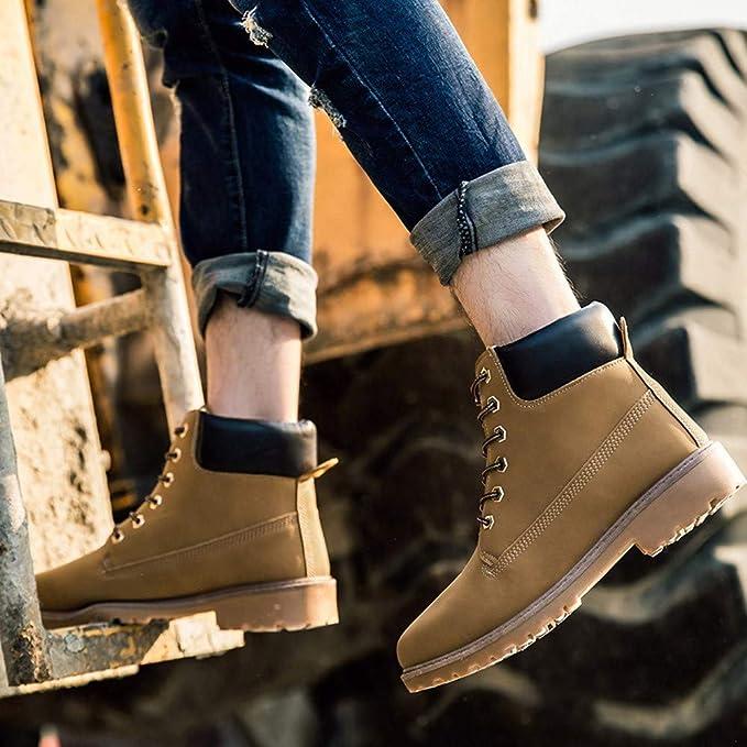 ZARLLE clásico Calzado cálido para Mujer Botines Plataforma Muslo Zapatos De Cuero Plataforma Impermeable AdemáS De Terciopelo Botas De Mujer Cabeza Redonda ...