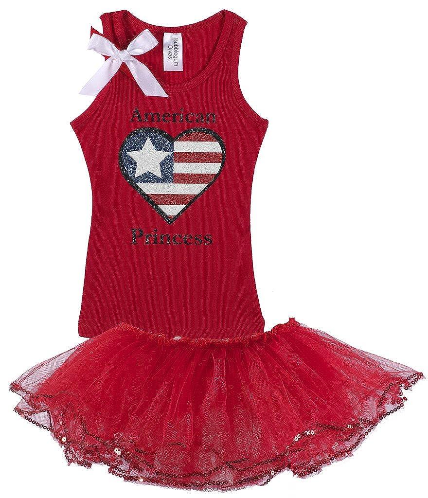 Bubblegum Divas Little Girls 4th of July American Princess Tank Top and Tutu Set
