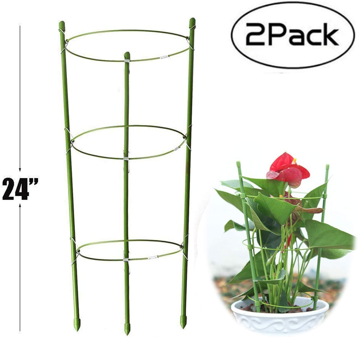 Anzmtosn Large Size 24INCH Garden Plant Support Ring Large Size Garden Trellis Flower Stainless Steel Support Climbing Vegtables/&Flowers/&Fruit Grow Cage with 3 Adjustable Rings 60CM 2PCS