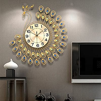 NEOTEND 3D Wall Clock Peacock 40pcs Diamonds Decorative Clock