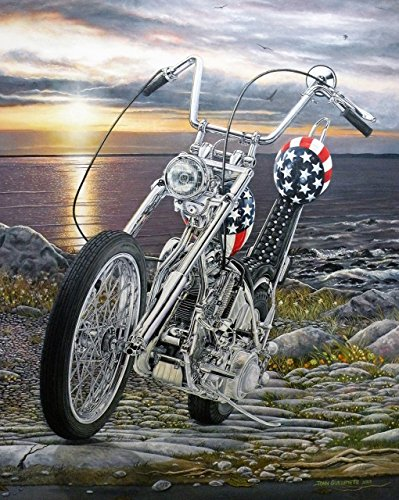 Easy Rider Harley Davidson Chopper, Limited Edition Motorcycle Art Print, Biker Wall Art, Seascape Sunset, Signed Numbered w/COA - Original Painting by John Guillemette