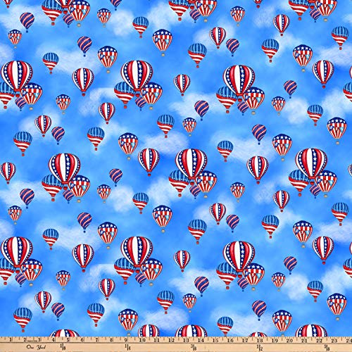 - Studio E Fabrics America: Land Of The Free Hot Air Balloons Blue Fabric Fabric by the Yard