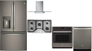 """GE Profile 5 Pcs Kitchen Appliance Package with 36"""" French Door Refrigerator, 36"""" Gas Cooktop, 36"""" Wall Mount Hood, 27"""" Electric Single Wall Oven and 24"""" Built In Fully Integrated Dishwasher in Slate"""