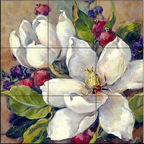 Ceramic Tile Mural - Magnolia- by Barbara Mock - Kitchen backsplash/Bathroom Shower