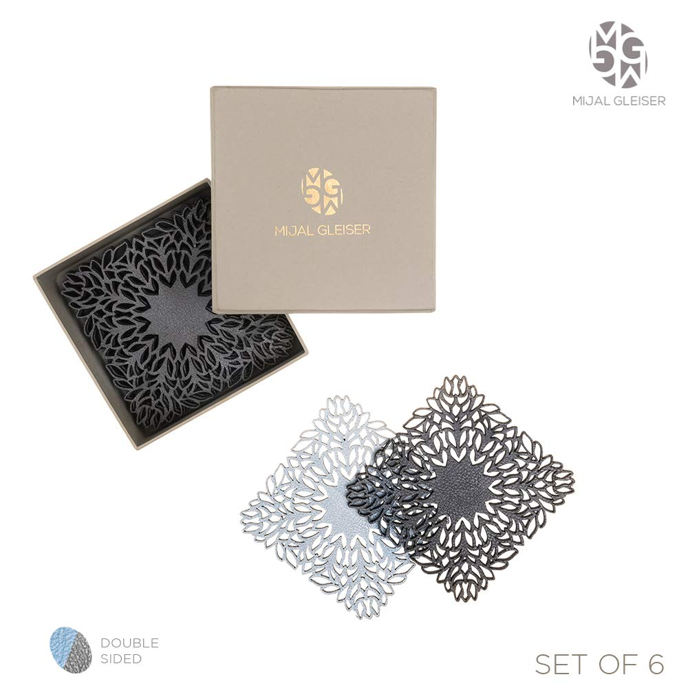 Mijal Gleiser Double Sided Coasters Laser Cut Heat Resistant Non Slip Stain Resistant Set of 6 Maya Collection Pewter-Rose