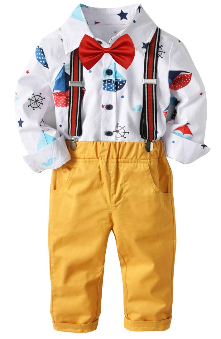 Baby Boys Suspender Set Overalls Outfit Cotton Long Sleeve Jumpsuit Overalls Rompers Sets