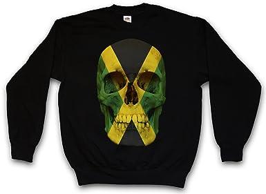 Urban Backwoods Jamaica Jamaican Skull Flag Sudadera para Hombre Sweatshirt Pullover - Bob Jamaika Giamaica Bandera cráneo Rasta Marley Irie Sudadera para ...