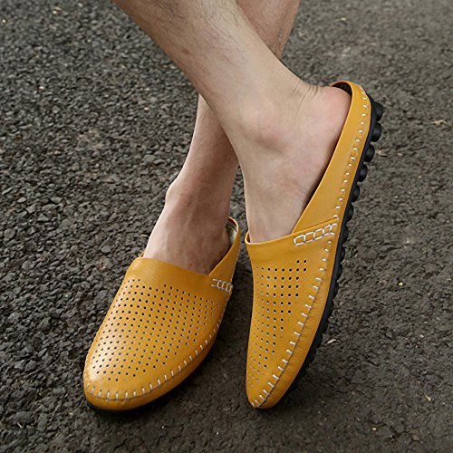 SUNROLAN Mens Summer Breathable Leather Slip On Open Back Slipper Loafer Mules Style Flats Shoes Yellow KyipdrqYz
