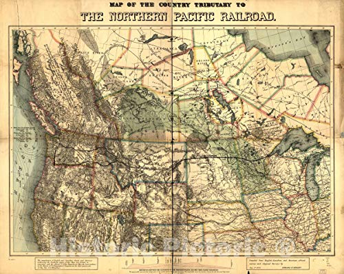(Historic 1871 Map | Map of The Country Tributary to The Northern Pacific Railroad, compiled from English, Canadian, and American Official Sources and Original surveys by Edward H. Knight 56in x 44in)