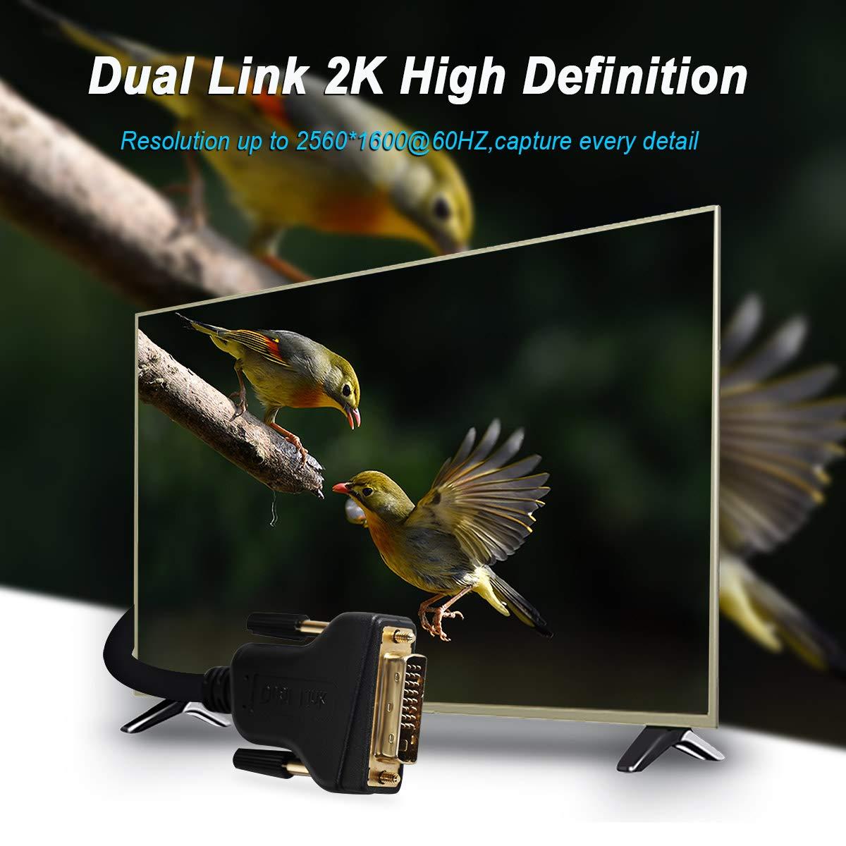 Cable DVI a DVI 0.9M 1 paquete. 1,8 m DVI-D a DVI-D de doble enlace Benfei